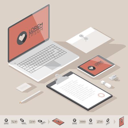 mockup: Corporate identity mock-up template. Flat isometric design. Vector illustration.