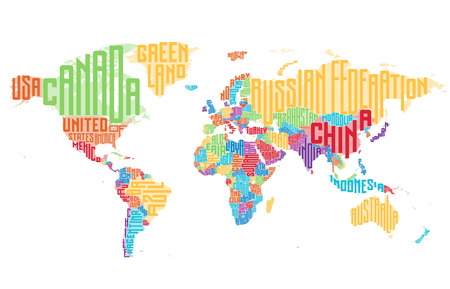country: World map made of typographic country names. Vector illustration.