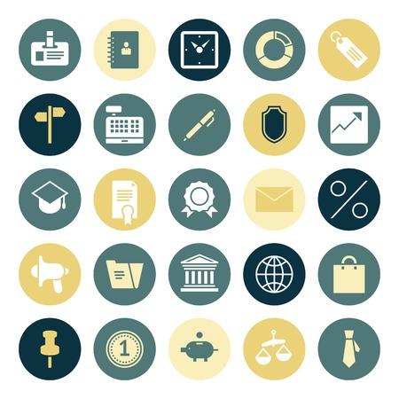 cash register building: Flat design icons for business. Vector illustration.