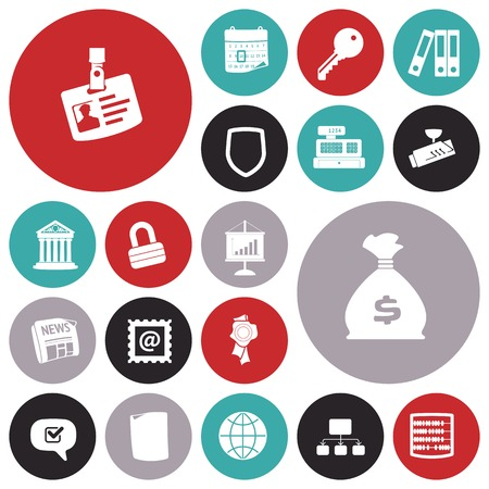 maquina registradora: Iconos del diseño planas para los negocios y las finanzas. Ilustración del vector.