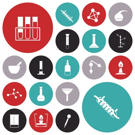 retort: Flat design icons for chemistry lab. Vector illustration.