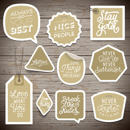 rustic wall: Stickers on rustic wood background. Vector illustration.