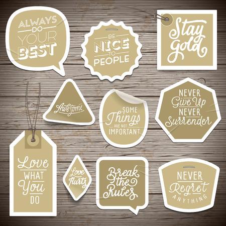 Stickers op rustieke houten achtergrond. Vector illustratie. Vector Illustratie
