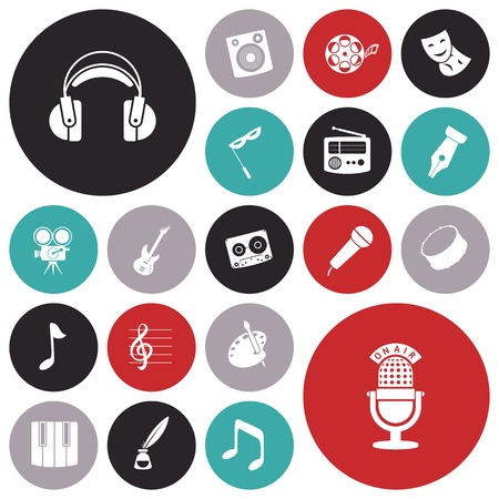 clipart speaker: Flat design icons for music and sound. Vector illustration.
