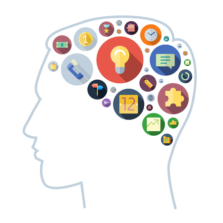 brain: Icons for business arranged in human brain shape. Vector illustration.