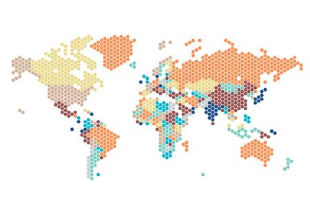 mapa del mundo con puntos de puntos hexagonales en el fondo blanco. Ilustración del vector.