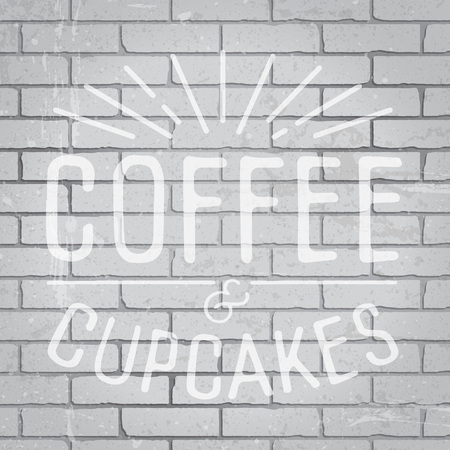 restaurant sign: Hand drawn lettering slogan on grunge gray brick wall background. Vector illustration.