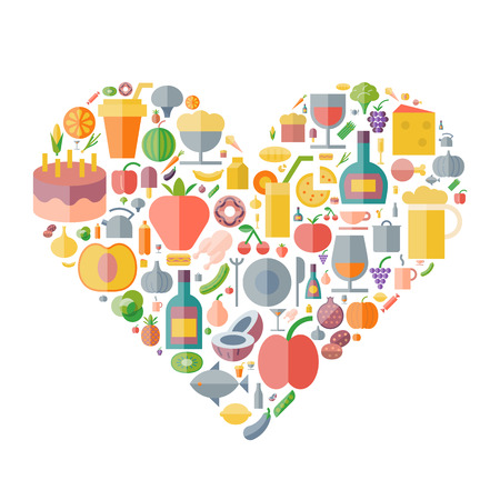 drink food: Icons for food and drink arranged in heart shape. Vector illustration.