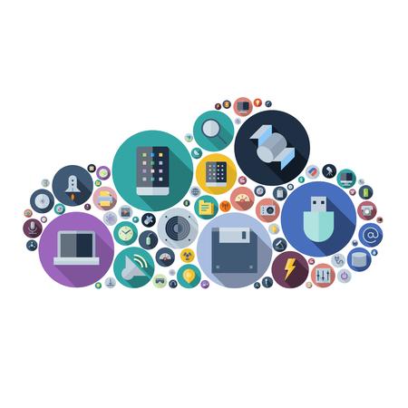 Icone per la tecnologia e dispositivi elettronici disposti in forma di cloud. Illustrazione vettoriale.