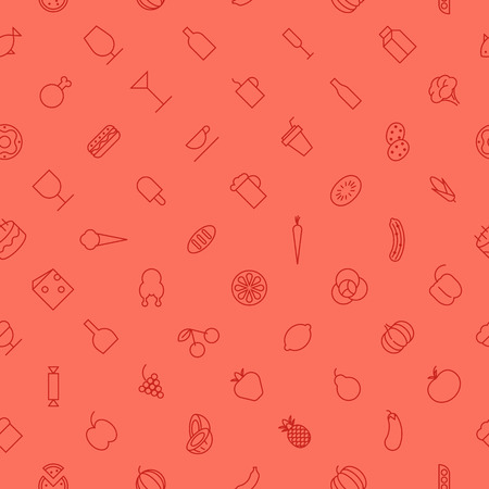 Seamless background pattern for food and drinks made of thin line icons. Vector illustration.