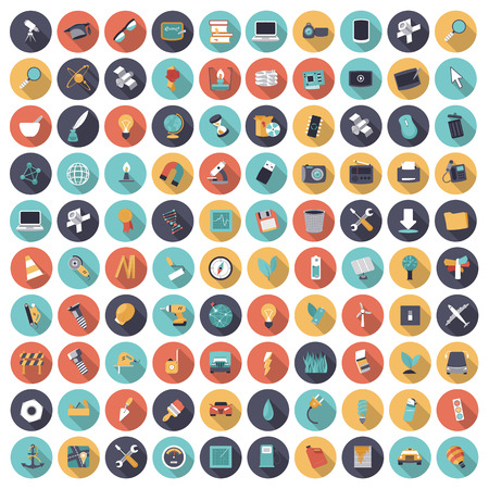 Flat design icons for technology, science and industrial. Vector eps10 with transparency. Illustration