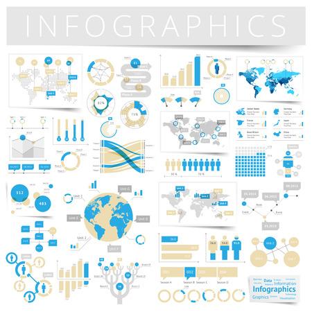 grafica de barras: Infografía con iconos de datos, gráficos de mapa del mundo y elementos de diseño. Ilustración del vector. Vectores