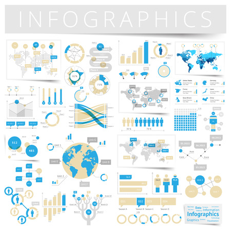 Infographics with data icons, world map charts and design elements. Vector illustration. Illustration