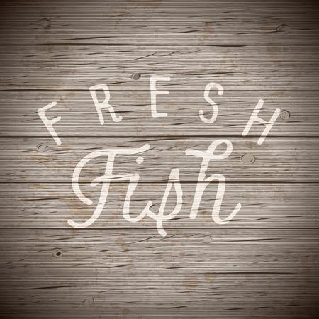 alimentos y bebidas: el fondo de madera rústica con dibujado a mano las letras lema para la alimentación y bebidas. Ilustración del vector.