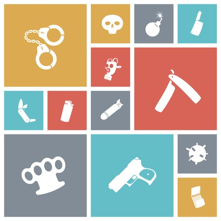 explosive gas: Flat design miscellaneous icons. Vector illustration.