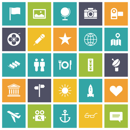 map icon: Flat design icons for travel and leisure. Vector illustration.