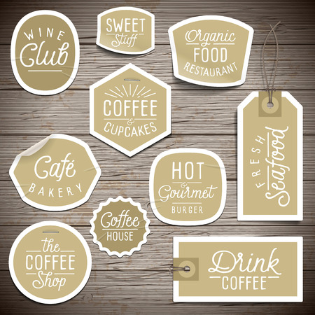 label: Stickers on rustic wood background for cafe and restaurant. Vector illustration.