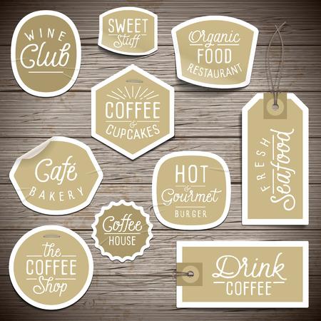 Stickers op rustieke houten achtergrond voor cafe en een restaurant. Vector illustratie.