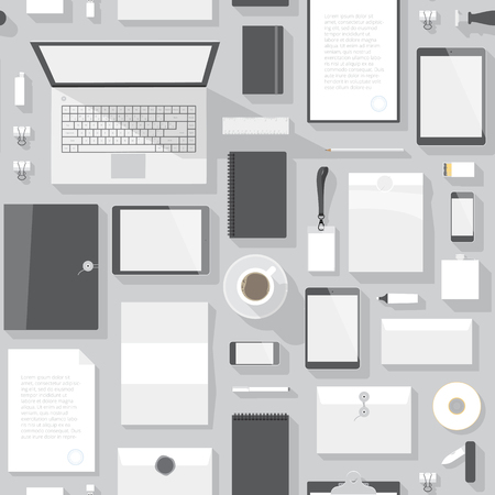 office objects: Seamless background pattern for business. Stationery office objects and computer devices. Vector illustration.