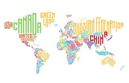 mapa mundi: Mapa del mundo hecho de nombres de países tipográficos. Ilustración del vector.