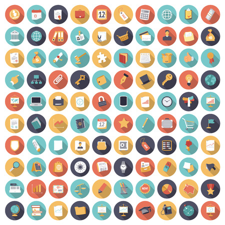 button icon: Flat design icons for business and finance. Vector eps10 with transparency.