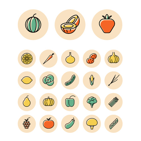 button mushroom: Thin line icons for fruits and vegetables. Vector illustration.