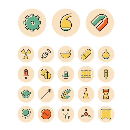 retort: Thin line icons for science and medical. Vector illustration.