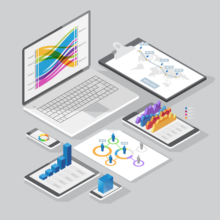 computer devices: Set of infographics design elements on stationery and computer devices. Isometric style. Vector illustration. Illustration