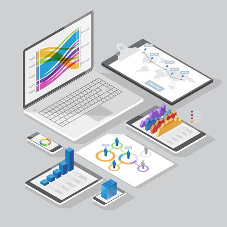 Insieme di elementi di design infografica su dispositivi di cancelleria e computer. Stile isometrico. Illustrazione vettoriale.