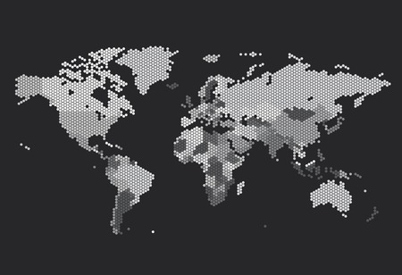 Dotted World map of hexagonal dots on dark background. Vector illustration.