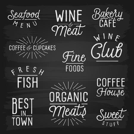 slogans: Hand drawn lettering slogans for cafe and restaurant. Vector illustration. Illustration