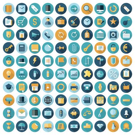 Płaskie ikony projektowe dla biznesu i finansów. Wektor eps10 z przezroczystością. Ilustracje wektorowe