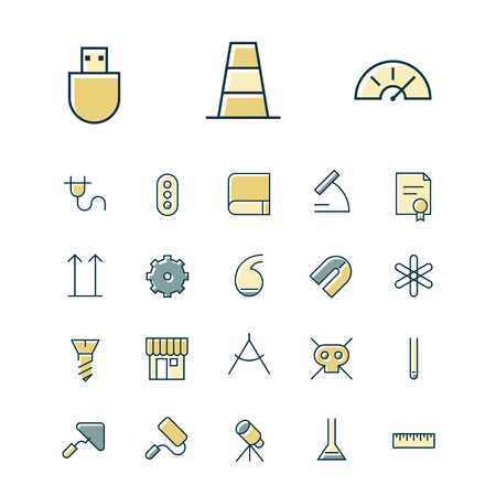 retort: Thin line icons for science and industrial. Vector illustration.