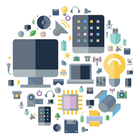 electronic tablet: Icons for technology and electronic devices arranged in circle. Vector illustration.