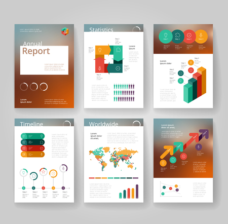 graphs and charts: Business brochure design template with infographics. Annual report layout. Vector illustration.