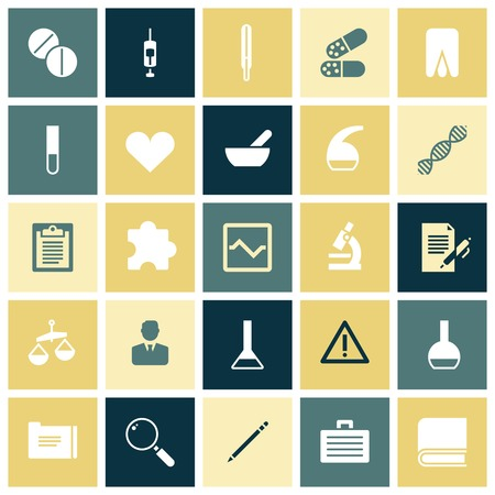 onderwijs: Vlakke ontwerp iconen voor de medische wetenschap. Vector illustratie. Stock Illustratie