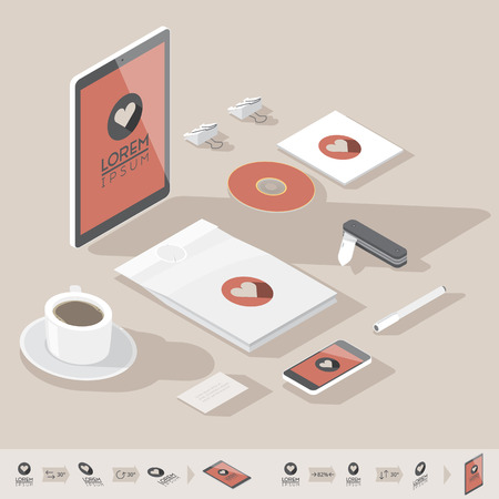 pens: Corporate identity mock-up template. Flat isometric design. Vector illustration.