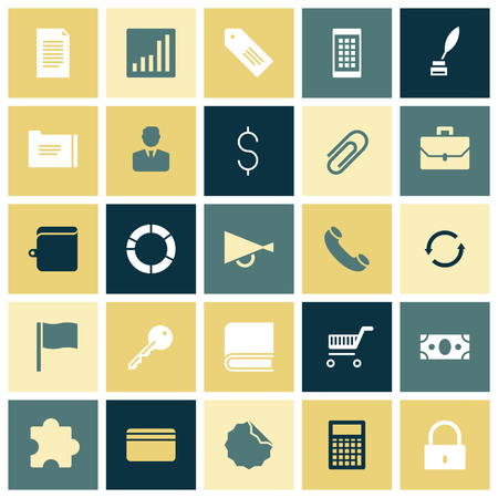 cash book: Flat design icons for business. Vector illustration.