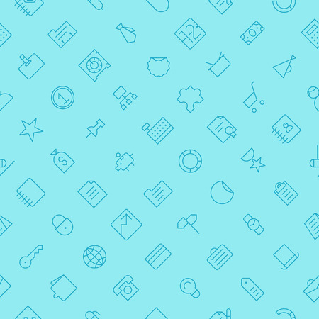 office buttons: Seamless background pattern for business and finance made of thin line icons. Vector illustration. Illustration