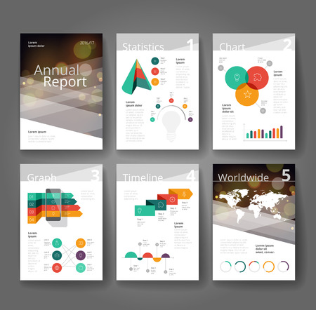 annual report: Business brochure design template with infographics. Annual report layout. Vector illustration.
