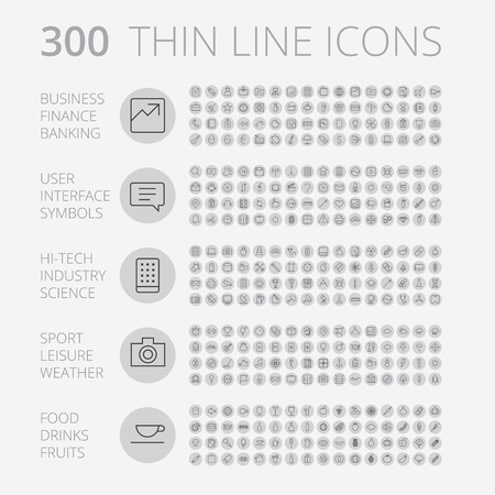 Thin Line Icons For Business, Interface, Leisure and Food. Vector