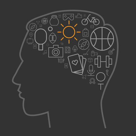 at leisure: Icons for sport and leisure arranged in human brain shape. Vector illustration. Illustration