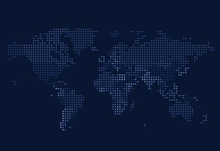 Gepunktete Weltkarte der quadratischen Punkte auf dunklem Hintergrund. Vektor-Illustration.