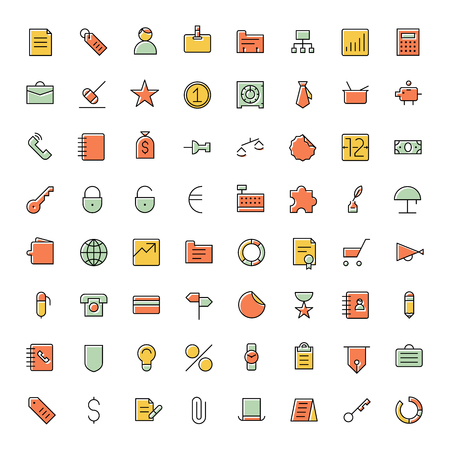 business finance: Thin line icons for business, finance and banking. Vector illustration. Illustration