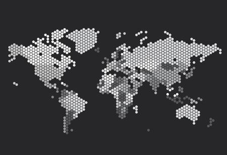 Dotted World map of hexagonal dots on dark background. Vector illustration. Векторная Иллюстрация