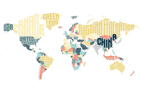 europe map: World map made of typographic country names. Vector illustration.