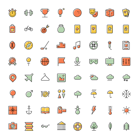at leisure: Thin line icons for leisure, travel and sport. Vector illustration.