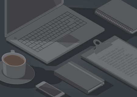 office objects: Dark background with isometric stationery office objects, coffee and laptop computer. Vector illustration.