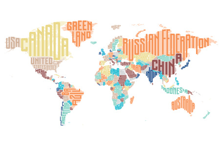 campestre: Mapa del mundo hecho de nombres de países tipográficos. Ilustración del vector.