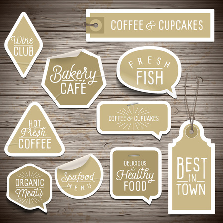 rustic wood: Stickers on rustic wood background for cafe and restaurant. Vector illustration.